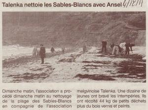 Talenka nettoie les Sables-Blancs avec Ansel